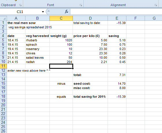 GYO money saving experiment spreadsheet